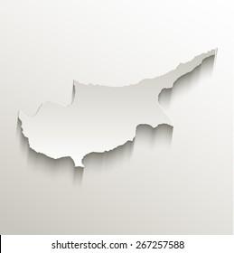 Cyprus map card paper 3D natural raster