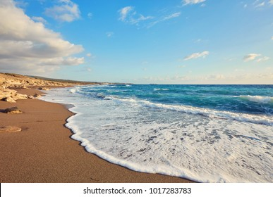 Cyprus - Mediterranean Sea coast. Lara Beach in Paphos district.