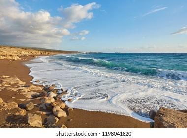 Cyprus - Mediterranean Sea coast. Lara Beach in Paphos district.