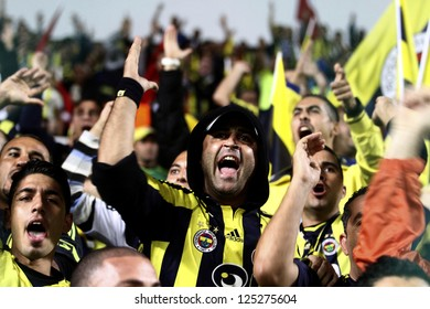 CYPRUS, NICOSIA-OCTOBER 25:Fenerbahce fans before the game against AEL Limassol  for UEFA Europa League group C football match at GSP Stadium in the Cypriot capital Nicosia on October 25, 2012.