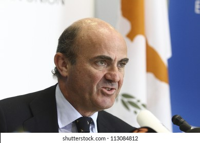 CYPRUS, NICOSIA-SEPTEMBER 15:Spanish Minister of Economy, Luis de Guindos speaks to media during an ECOFIN Council  on September 15,2012 at Filoxenia Conference Center in Nicosia,Cyprus
