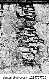 in cyprus the old broken wall and brick concept of denger and  destruction