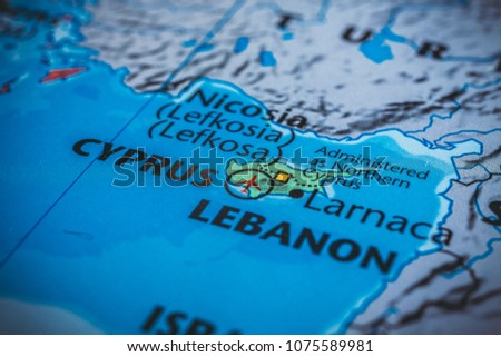 Cyprus On Map Europe Stock Photo Edit Now 1075589981 Shutterstock