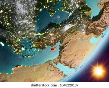 Cyprus from orbit of planet Earth in sunrise with highly detailed surface textures and clouds. 3D illustration. Elements of this image furnished by NASA.