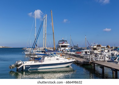 CYPRUS, PAPHOS - 30 MAY, 2017: Boats and yachts moored off in marina begin of the summer season