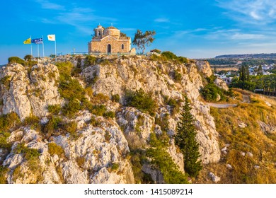 Cyprus Protaras. Church of prophet Elijah. Panorama with drone. Greek orthodox church on the mountain. Cyprus temple in Byzantine style. Tourist attractions of Protaras. Republic of Cyprus