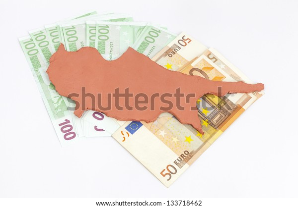 Cyprus standing  on euro money (Concept Cyprus financial crisis)