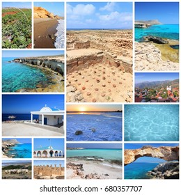 Cyprus travel photo collage - images collection with monuments, Kavo Greko, Paphos and beaches.