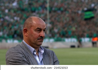 CYPRUS,NICOSIA - AUG 28:Stanislav Cherchesov coach of Dinamo Moskva during the Europa League  soccer match against  Omonoia   at GSP stadium in Nicosia, Cyprus, Thursday, Aug. 28, 2014