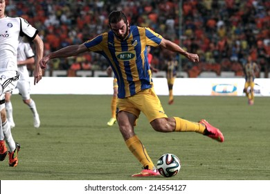 CYPRUS,NICOSIA - AUG 6:Cillian Sheridan of Apoel   scores  a goal  during their Champions League third qualifying round second leg against HJK Helsinki at GSP stadium in Nicosia, Cyprus