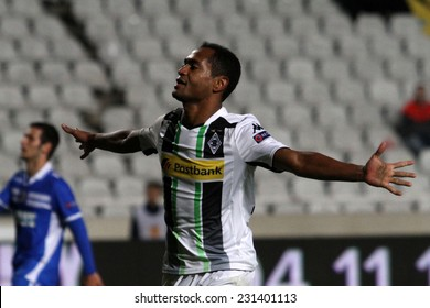 CYPRUS,NICOSIA- NOV 6: Borussia Monchengladbach's Raffael celebrate a goal during the Uefa Europa League game  against Apollon FC  in Gsp Stadium on November 6,2014