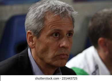 CYPRUS,NICOSIA- NOV 6:Borussia Monchengladbach coach Lucien Favre  during the Uefa Europa League against Apollon Limassol FC in Gsp Stadium on November 6,2014