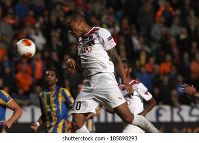 CYPRUS,NICOSIA - NOV 7: Bordeaux  player Jussie fight for the ball during their Europa League  soccer match at GSP stadium in Nicosia, Cyprus, Thursday, Nov. 07, 2013