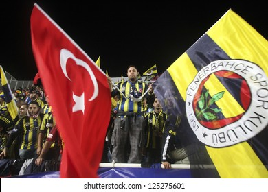 CYPRUS,NICOSIA-OCTOBER 25:Fenerbahce fans before the game against AEL Limassol  for UEFA Europa League group C football match at GSP Stadium in the Cypriot capital Nicosia on October 25, 2012.