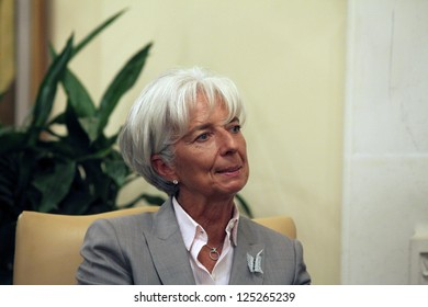 CYPRUS,NICOSIA-SEPTEMBER  13:International Monetary Fund (IMF) chief Christine Lagarde during a meeting with Cypriot President Dimitis Christofias  in Nicosia on September 13,2012