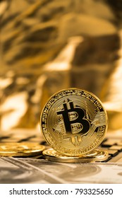 Cyptocurrency Bitcoin with money future digital currency