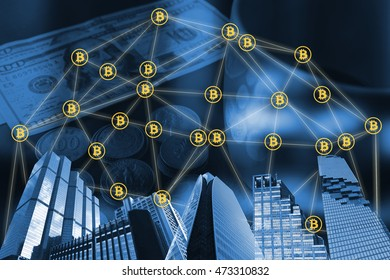 Cyptocurrency or digital money concept image. Building and bitcon connect with world coin and dollar banknote background, Fintech innovation Technology