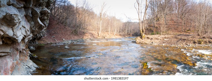 The Czarny Potok stream flowing next to the cave in Rosolina, Polana, Bieszczady mountains  - Shutterstock ID 1981383197