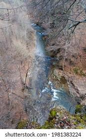 The Czarny Potok stream flowing next to the cave in Rosolina, Polana, Bieszczady mountains  - Shutterstock ID 1981383224