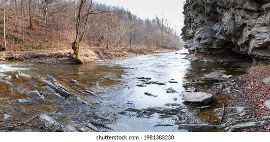 The Czarny Potok stream flowing next to the cave in Rosolina, Polana, Bieszczady mountains  - Shutterstock ID 1981383230