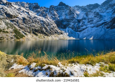 Czarny Staw alpine lake in autumn colours, High Tatra Mountains, Poland