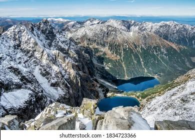 Czarny Staw and Morskie Oko tarn from Rysy peak, High Tatras mountains, Poland. Hiking theme. Seasonal natural scene. - Shutterstock ID 1834723366