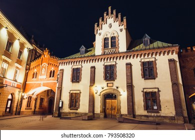 Czartoryski Museum in old town of Krakow at night, Poland