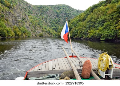 Czecg flag on the boat on the Vltava river