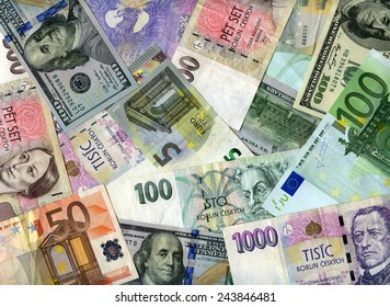 Czech banknotes (koruns), US dollars and European currency (Euro) background