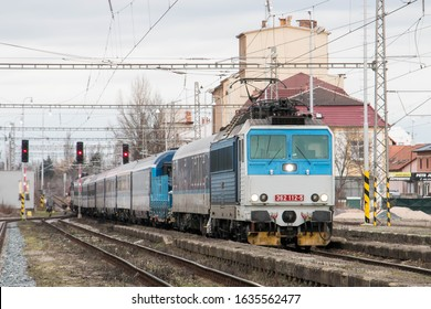 Czech blue and white long passenger train