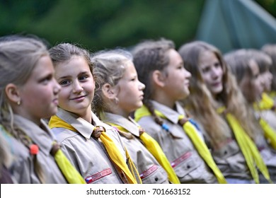 Czech boy and girl scouts during their summer camp. Czech scouts usually stay in tents for 2 or 3 weeks. August 10, 2017; Drahnovice in Czech republic