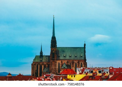 Czech, Brno, Cathedral of St. Peter and Paul building, city view. Gothic church and city architecture.