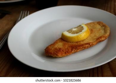 czech chicken cutlet with lemon
