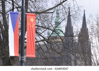 Czech and Chinese flags are flying in Prague, Czech Republic, March 24, 2016 prior to the visit by China's President Xi Jinping to Prague.