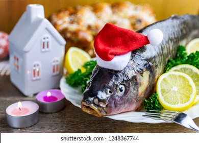 Czech christmas time and customs - bohemian cuisine and typical fish - traditional carp prepared for festive dinner cooking