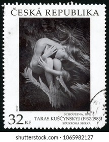 CZECH - CIRCA 2017: post stamp printed in Ceska republika shows photo of nude woman; cuddled 1972 private collection; Taras Kuscynskyj (1932-1983); works of art; 32 black and white; circa 2017