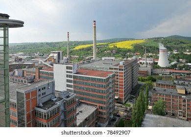 Czech city of Zlin, the view from the skyscraper on the former factory of Bata