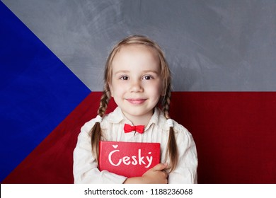 Czech concept with little girl student with book against the Czech flag background. Learn language