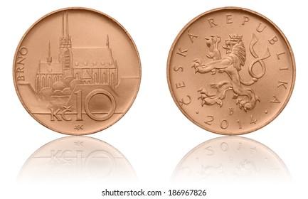 Czech Crown Coins, 10 CZK, Ten Crowns, The Obverse and Reverse, Soft Light, Czech Currency