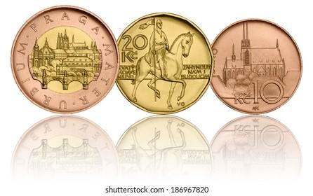Czech Crown Coins, 50 CZK - 20 CZK - 10CZK, Fifty Crowns, Twenty Crowns, Ten Crowns, Czech Currency