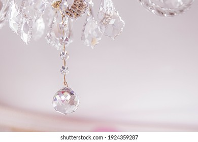 Czech crystal chandelier on ceiling