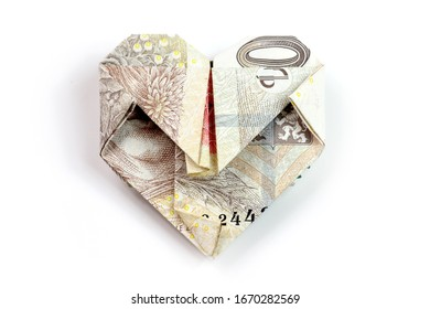 Czech currency, money, heart, isolated on white background