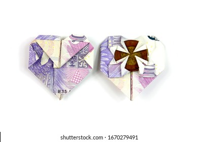 Czech currency, money, heart, two thousand isolated on white background
