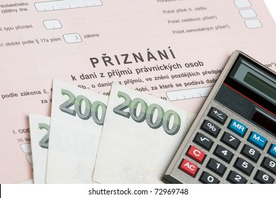 "Czech declaration of corporation taxes. Selective focus on word ""priznani"". Corrupt practices concept."