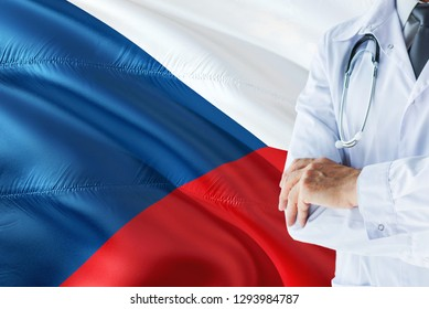 Czech Doctor standing with stethoscope on Czech Republic flag background. National healthcare system concept, medical theme.