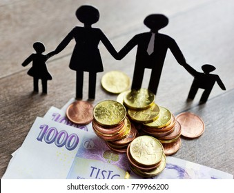 czech economy and finance - family and living costs - czech crown banknotes and coins