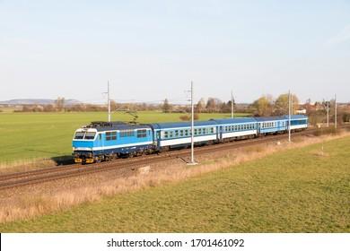 Czech fast train in Nymburk