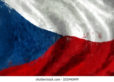 Czech flag abstract painting background