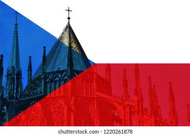 Czech flag with a background of Czech statehood