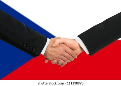 The Czech flag and business handshake